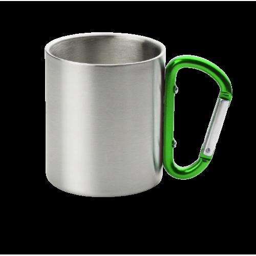 Кружка металл. с зеленой ручкой карабин 300мл