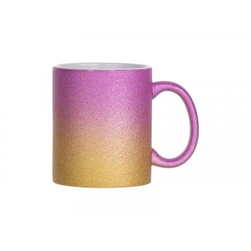 Кружка глиттерная градиент пурпурно-золотистая