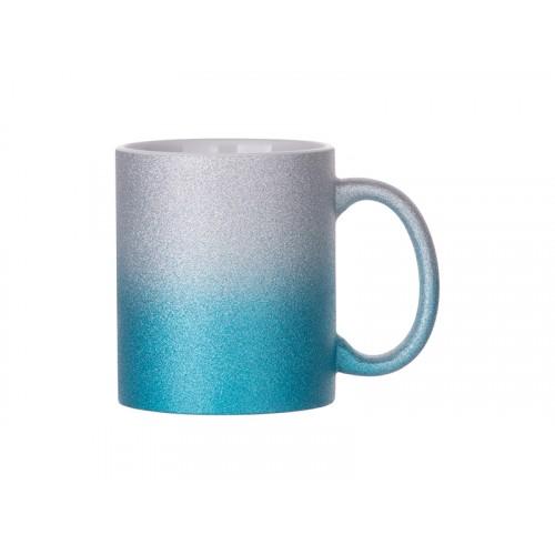 Кружка глиттерная градиент серебристо-голубая