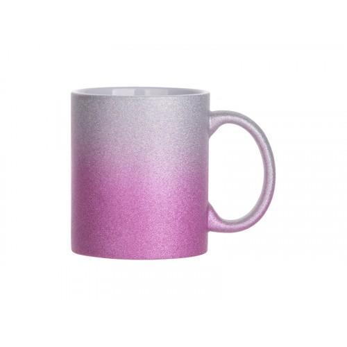 Кружка глиттерная градиент серебристо-пурпурная