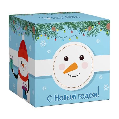 """Коробка под кружки """"Снеговик с Новым годом"""""""