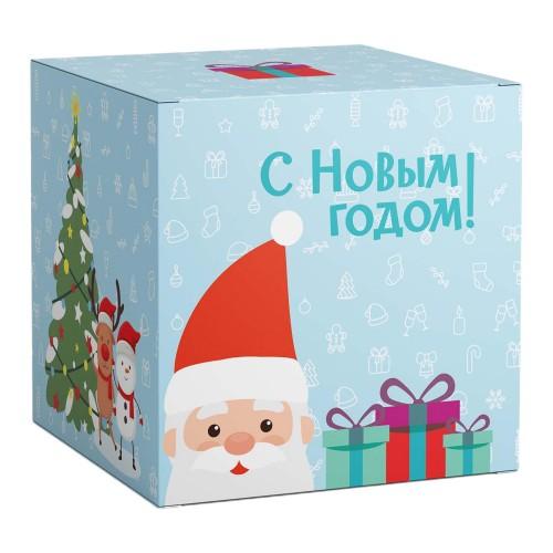 """Коробка под кружки """"В гостях у деда мороза ГОЛУБАЯ"""""""