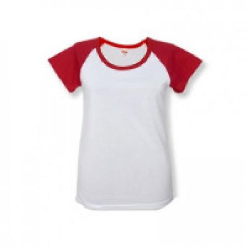 Футболка женская Color имитация хлопка, с красными рукавами (реглан)
