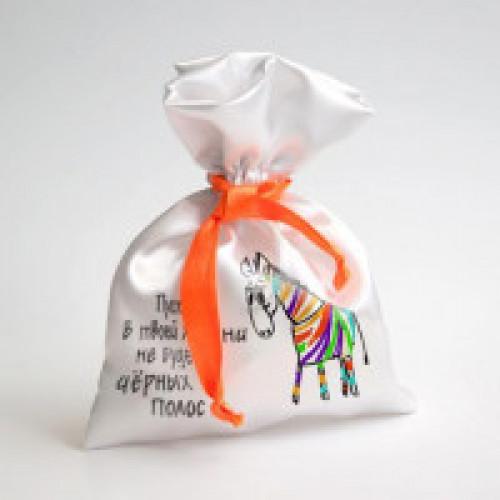 Мешок белый подарочный оранжевый кант 15*20
