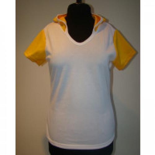 Футболка женская c желтым капюшоном и рукавами