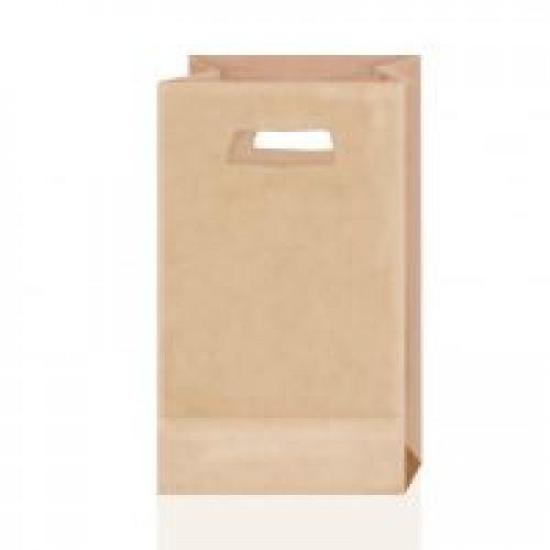 Крафт-пакет с вырубными ручками коричневый 18х9х30
