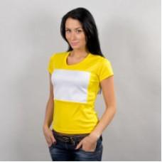 Футболка женская, желтая с белой вставкой спорт