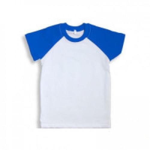 Футболка детская Color имитация хлопка, с синими рукавами (реглан)