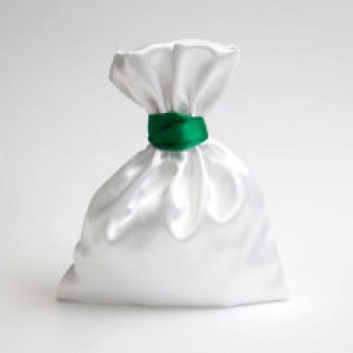 Мешок белый подарочный зеленый кант 15*20