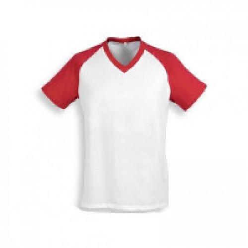 Футболка муж. Color имитация хлопка, с красными рукавами (реглан)