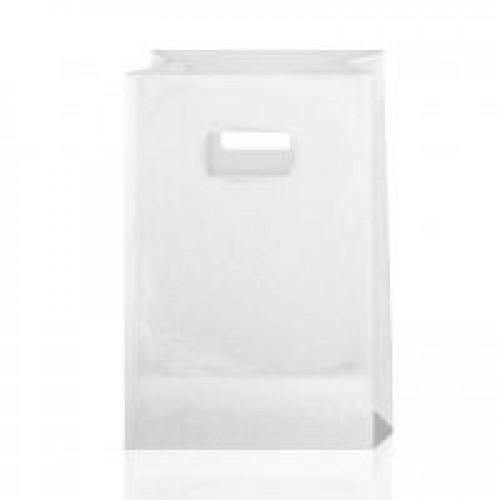 Крафт-пакет с вырубными ручками белый 14х7х21