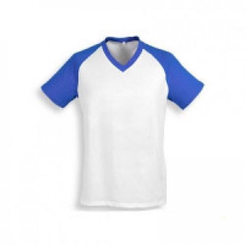 Футболка муж. Color имитация хлопка, с синими рукавами (реглан)