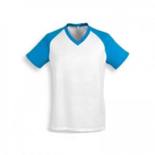 Футболка муж. Color имитация хлопка, с бирюзовыми рукавами (реглан)