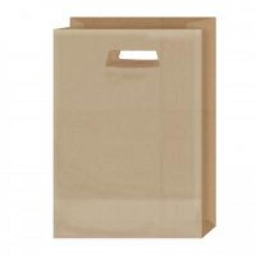 Крафт-пакет с вырубными ручками коричневый 22х11х31