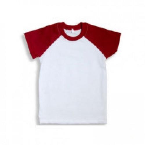 Футболка детская Color имитация хлопка, с красными рукавами (реглан)