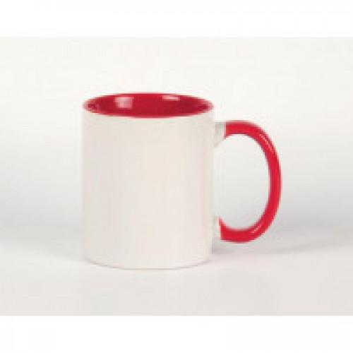 Кружка красная внутри + ручка ПРЕМИУМ